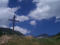 A cross on a hillside