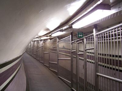 Caged walkway at Arsenal tube station