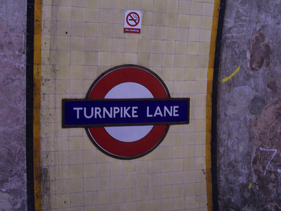 Turnpike Lane station sign